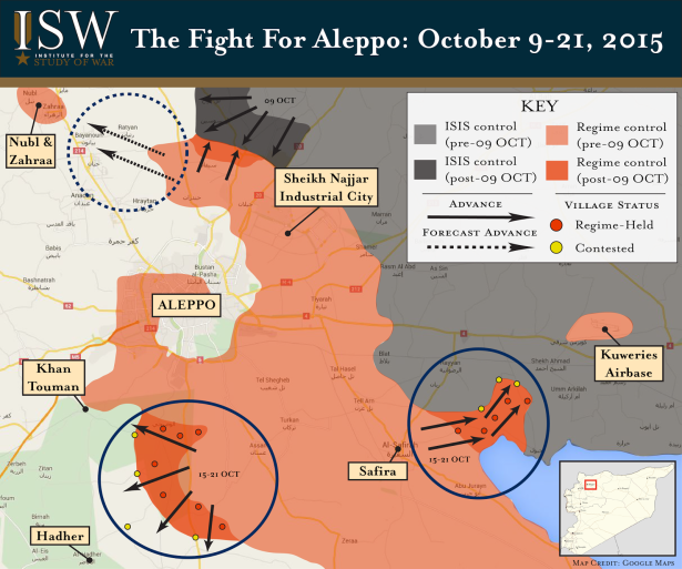 A strategic map of Aleppo depicting the Fight for Aleppo from October 9 to 15, 2015, Source: ISW, Institute for the Study of War