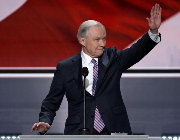 U.S. Senator Jeff Sessions (R-AL) waves to the crowd as he speaks at the Republican National Convention in Cleveland, Ohio, U.S. July 18, 2016